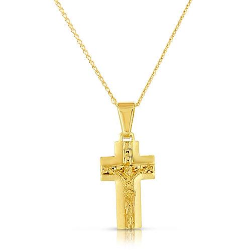 14K Gold Wide Cross Pendant