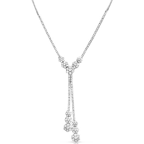 3 Gradual Flowers Diamond Necklace