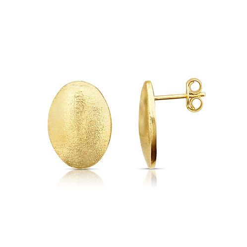 Oval Shape Sand Finish Earrings