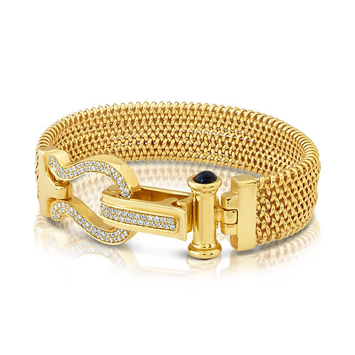18K Chain Belt Bracelet With CZ