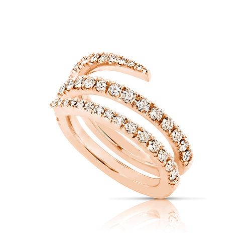 Soft Neat Diamond Spiral Ring