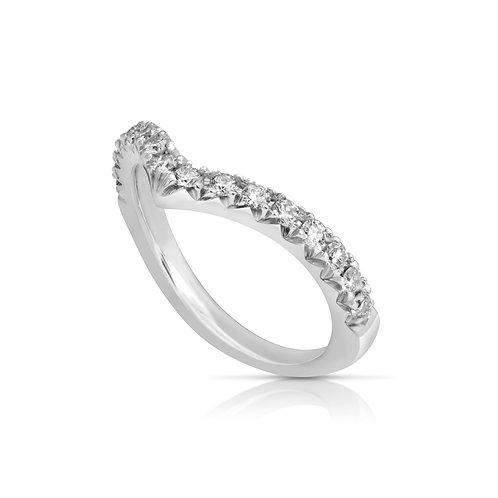 Thin V Shape Diamond Wedding Ring