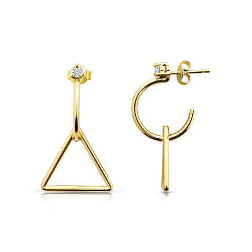 Delicate Triangle Diamond Earrings
