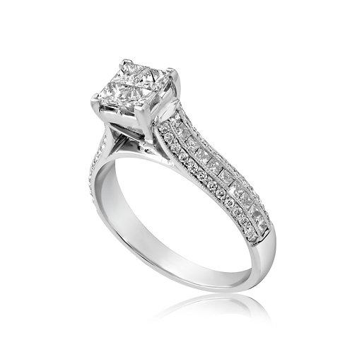 Princess Inlaid Diamond Engagement Ring