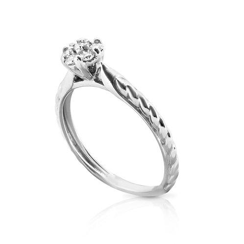 Soft Tabular Diamond Flower Ring