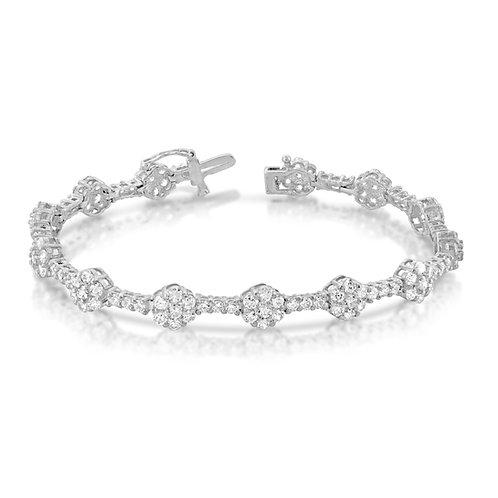 Elegant Diamond Inlaid Flowers Bracelet