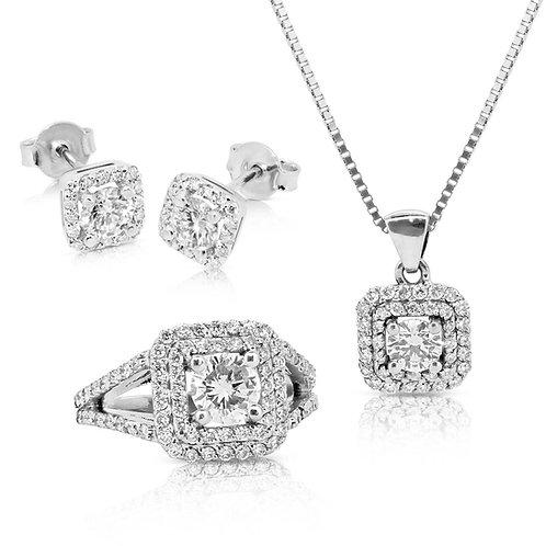 Diamond Luxurious 2.78CT Solitaire Jewerly Set