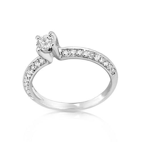 Thin Dual Diamond Raws Engagement Ring
