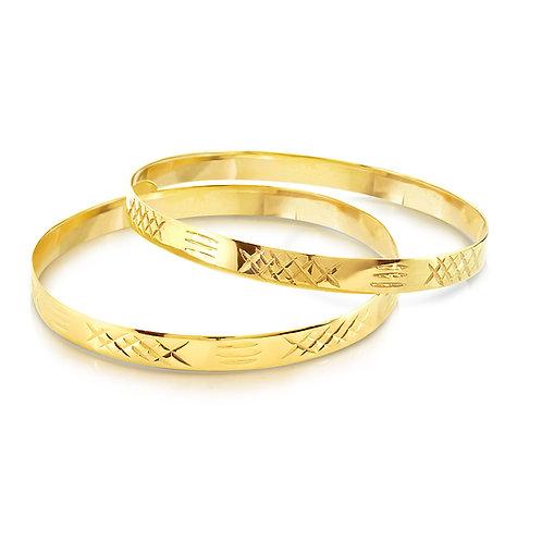 18K Double Oriental Engraved Bracelets
