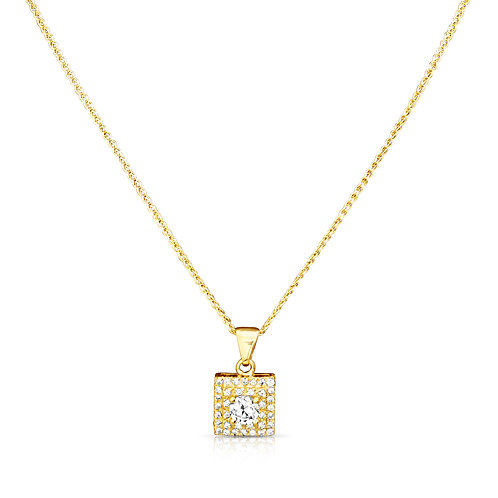 Near Square CZ Inlaid Gold Pendant