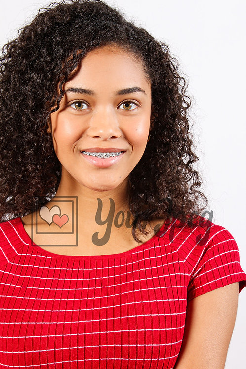 Close up of teen girl smiling