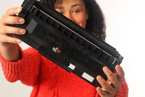 Woman Holding Printer Toner Cartridge #1