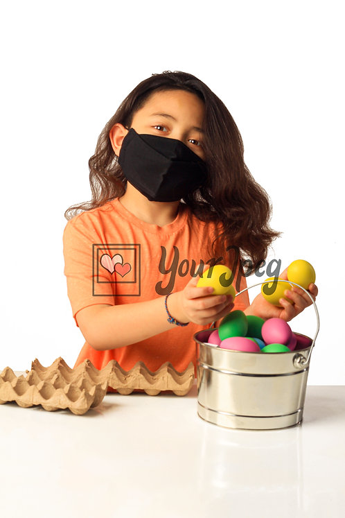 Girl Playing With Easter Eggs While Wearing Black Mask #5