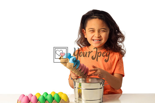 Girl Playing With Easter Eggs #2