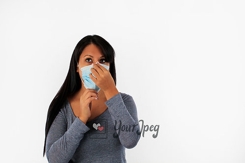 Woman Adjusting Mask Nose Area Front View