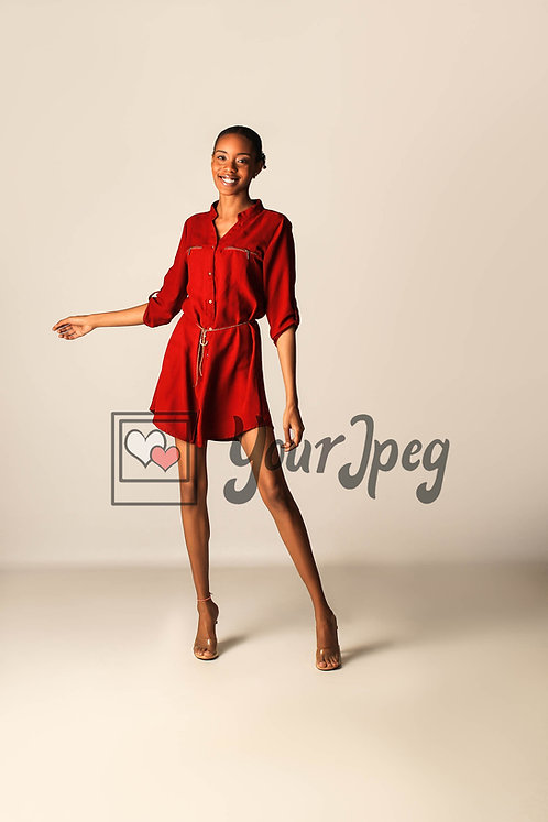 Model Posing With Right Arm Out Stretched