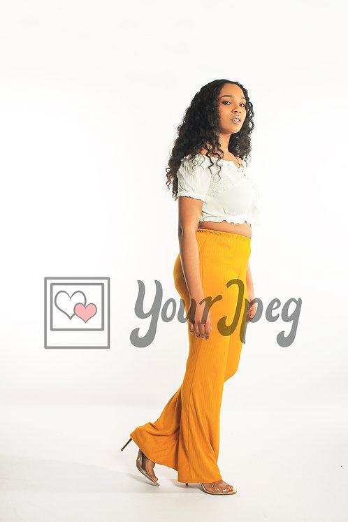 Woman in yellow pants walking