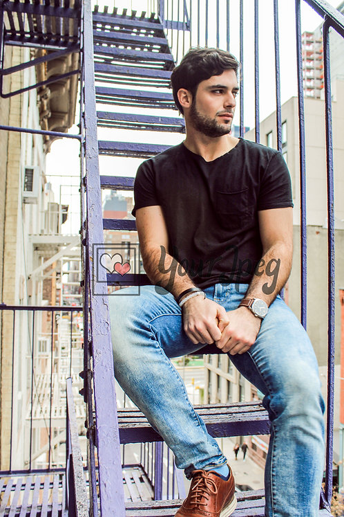 Male Model Sitting on Outdoor Fire Escape Stairwell