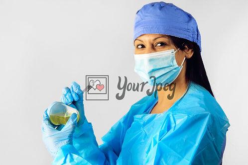 Female Nurse In Protective Equipment Marking Urine Specimen #3