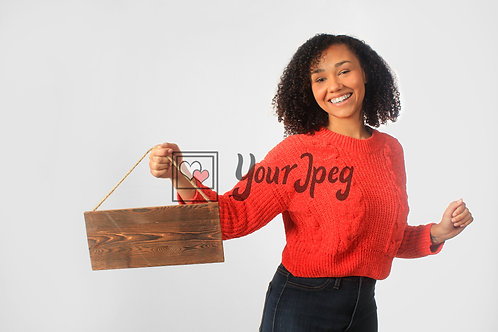 Woman Holding Up Wood Board #2