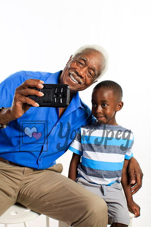 Grandpa and grandson selfie