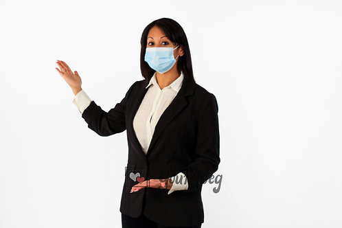 Woman In Suit Wearing Mask Demonstrating To Her Right Side