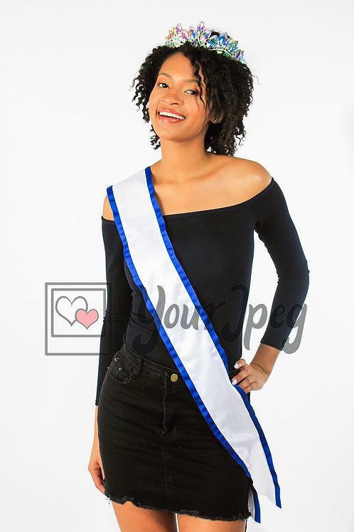 Woman wearing blank sash