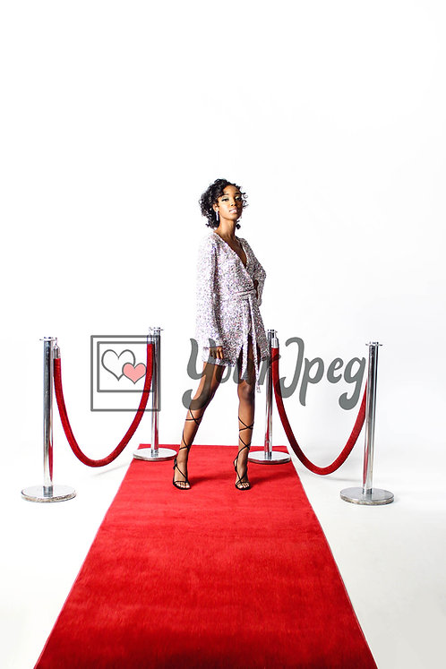 Woman Looking Forward on Red Carpet