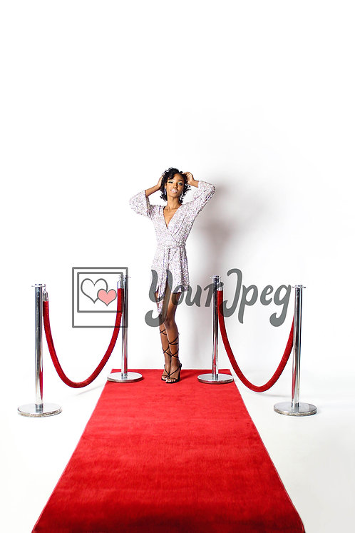 Woman Posing On Red Carpet With Her Arms Up