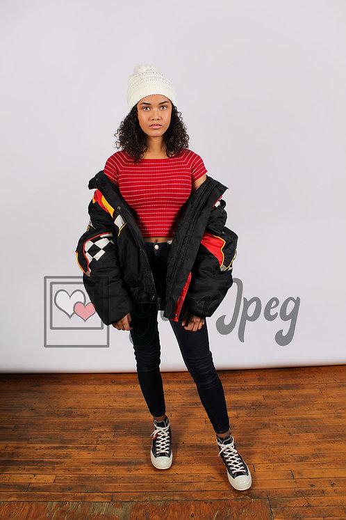 Trendy teen girl standing