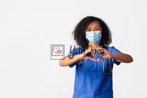 Female Nurse Wearing Mask Holding Up Heart Symbol