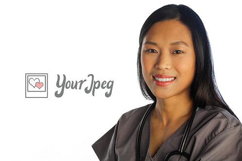 Female Nurse Smiling With Stethoscope Around Neck