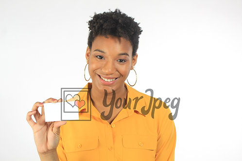 Woman holding up blank card 2