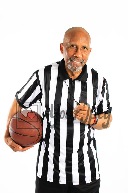 Male referee smiling