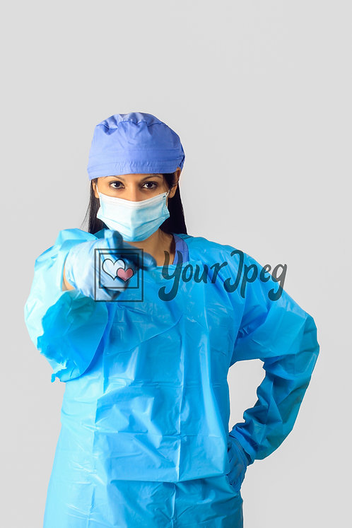 Female Nurse In Protective Equipment Pointing Finger #3
