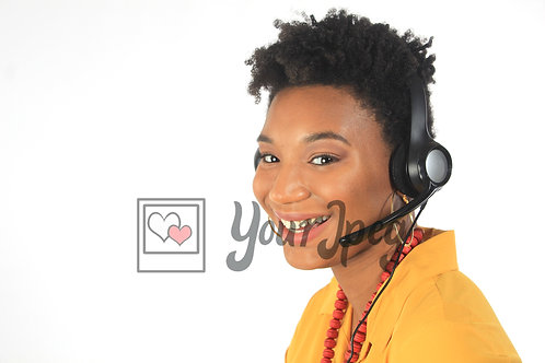 Woman wearing call center headset smiling