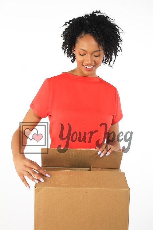 Woman closing box