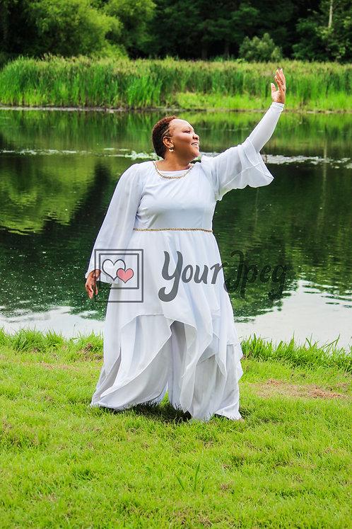 Woman praise dancing raising one arm