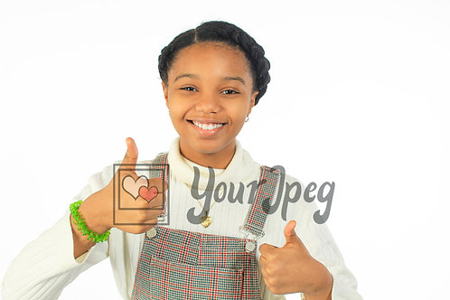 Tween girl giving thumbs up