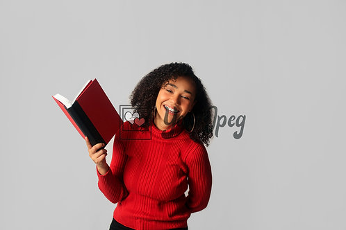 Woman Smiling While Holding Open Book #4