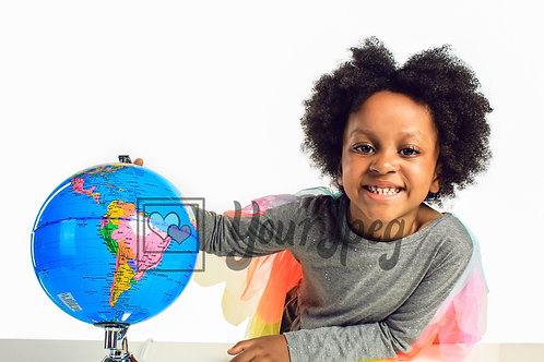 Girl with globe smiling