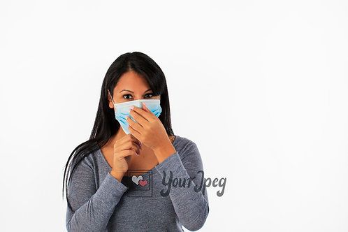 Woman Adjusting Mask Front Angle