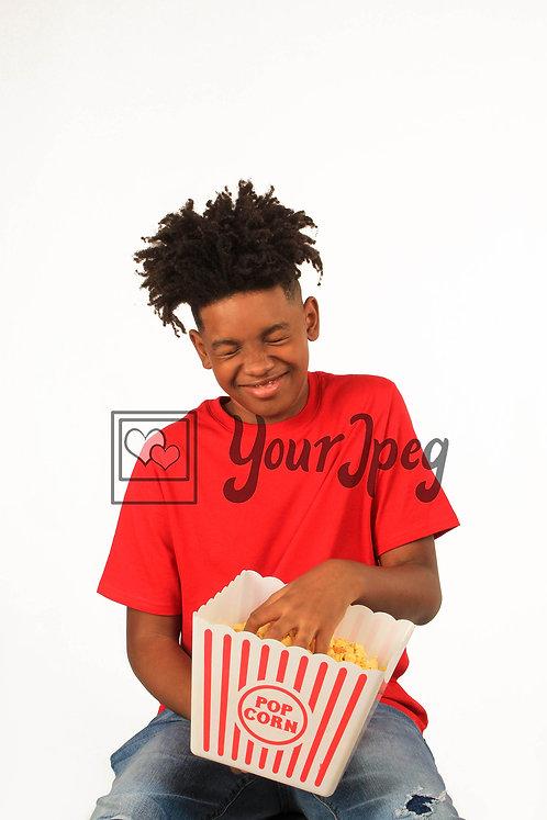 Teenage bow with popcorn bucket