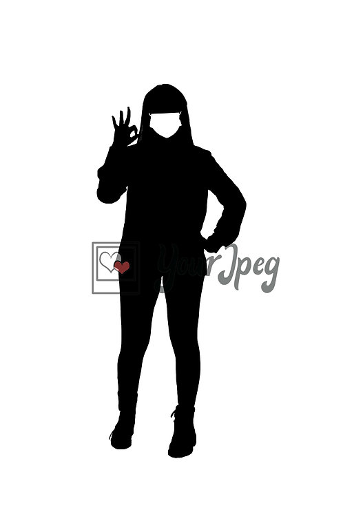Woman Wearing Mask Holding Up Okay Symbol