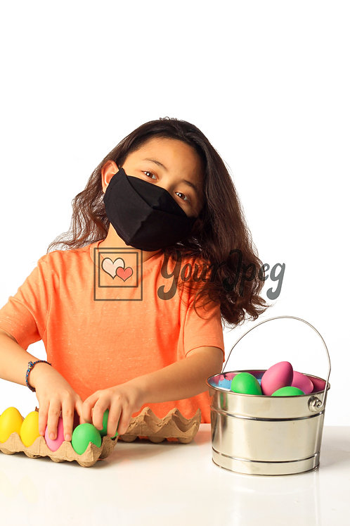 Girl Playing With Easter Eggs While Wearing Black Mask #3