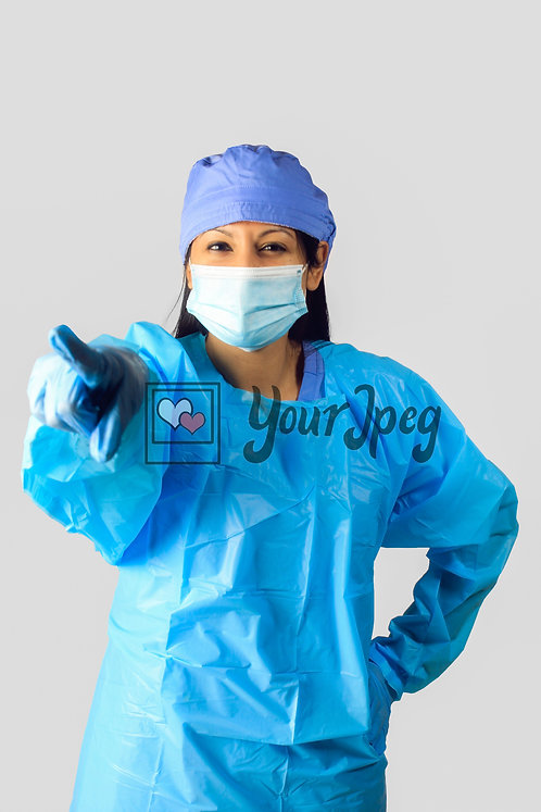 Female Nurse In Protective Equipment Pointing Finger #2
