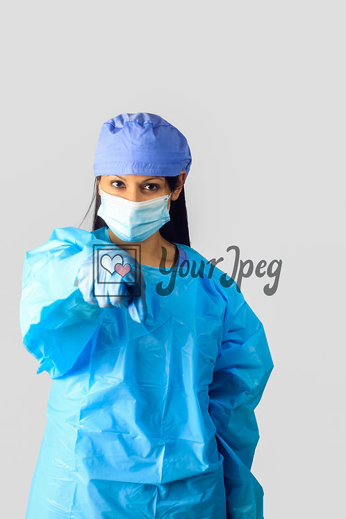 Female Nurse In Protective Equipment Pointing Finger #1