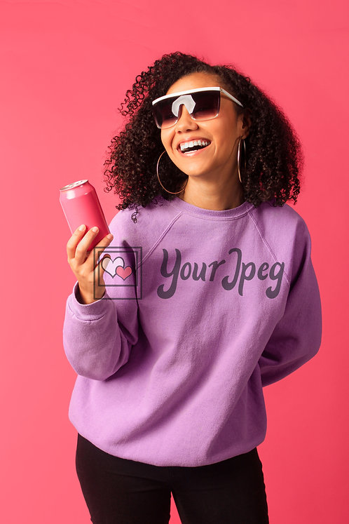 Woman Smiling While Wearing Sunglasses And Holding Soda Can #2
