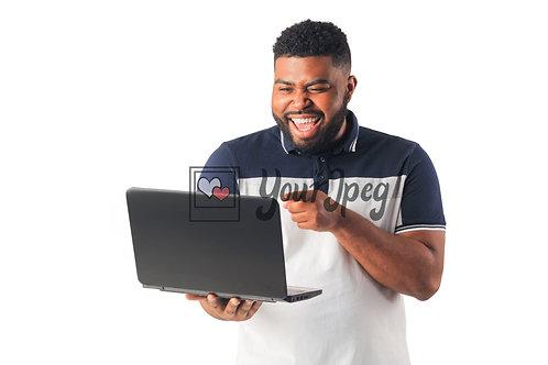 Man Smiling While Pointing At Laptop Screen #1