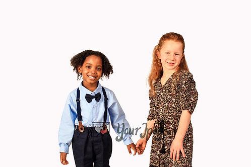Boy and Girl Holding Hands Modeling Smiling
